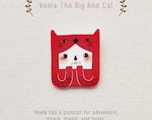 Veela The Big Red Cat - Handmade Shrink Plastic Brooch or Magnet - Wearable Art - Made to Order