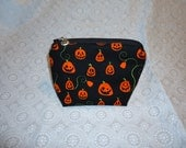 Jack-O-Lantern Pumpkin Makeup Bag - Halloween Bag