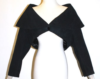 AZZEDINE ALAIA Vintage Jacket Black Suede Cropped Coat - AUTHENTIC -