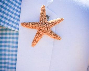 Beach Wedding Starfish Boutonniere, Beach Wedding Lapel Pin, Starfish Lapel Pin, Vintage Wedding Decor, Groomsman