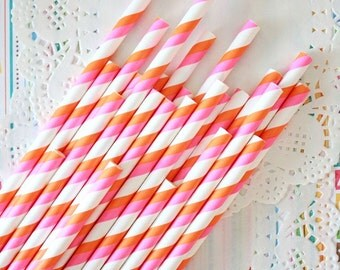 25 paper straw - double stripes - orange and pink - party decor - set of 25 - Ready to ship