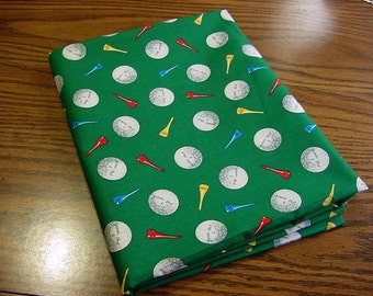 Play Golf -OOP Cotton Fabric - Balls and Tees on Emerald Green Red Yellow Blue White BTY