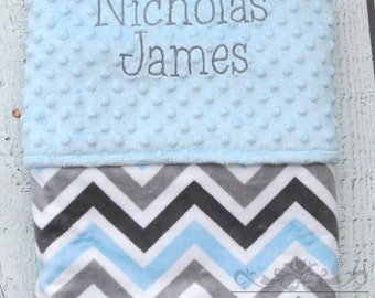 Personalized Baby Blanket Blue and Gray Multi Chevron Double Minky Blanket, Name Baby Blanket, Receiving Blanket, Custom Name Blanket