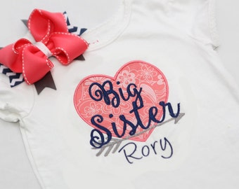Big Sister Shirt - Arrow Big Sister - Personalized Big/Middle/Little Sis Shirt  and Hairbow - Coral Grey Navy