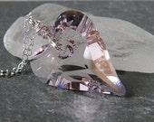 Pink Crystal Heart Necklace Rosaline Trendy Heart Rose Pink Heart Pendant Swarovski Wild Heart Sterling Silver Valentine Gift Best Friend