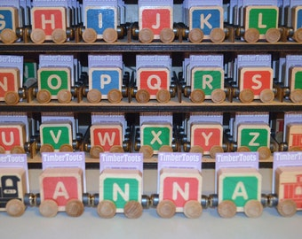 YOUR CHILDS Name  Gift  Wood Name Train Letter Blocks Toddler and Small child Gift each piece sold seperately Made in USA Free Shipping