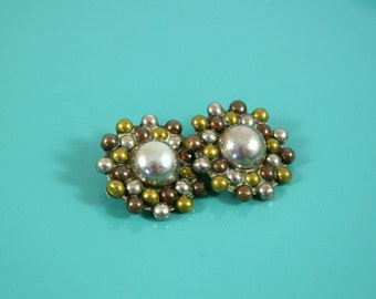 Maria Ortiz Moreno for Taxco Sterling Silver, Copper, and Brass Clip Earrings