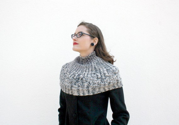 Grey Shoulder Warmer, Hand Knitted Turtleneck Capelet, One of A Kind Shrug, Cable Winter Knitwear, Womens Fashion, Autumn - Gray Black melee