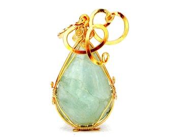 Aquamarine Pendant, Aqua Green Pendant, Aquamarine Gold Pendant, Wire Wrapped Pendant Pendant, Gemstone Pendant, Statement Gold Pendant