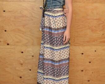 Vintage 70's Blue & Cream Floral Maxi Skirt Elastic Waist Matching Blet SZ M