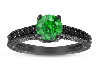 Fancy Green Diamond Wedding Ring, Engagement Ring 14K Black Gold Vintage Style Engraved VS2 1.02 Carat