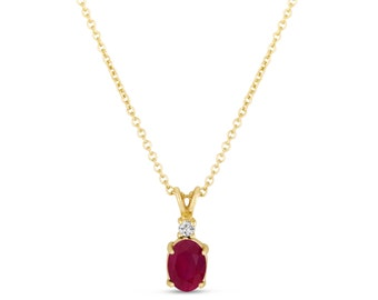 Oval Ruby & Diamond Solitaire Pendant Necklace 14K Yellow Gold 1.41 Carat HandMade