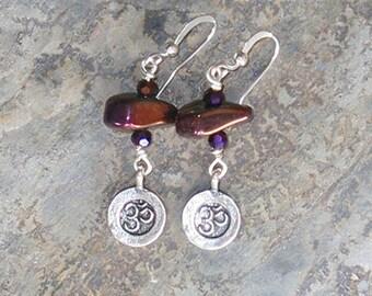 Purple Yoga Earrings, Purple Om Earrings, Hematite Earrings, Stone Earrings, Plum Purple Earrings, Handmade Earrings, Bohemian Earrings