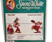 Walt Disney Snow White Seven Dwarfs Play Ball Counted Cross Stitch Kit, Doc Cross Stitch, Grumpy Cross Stitch, Bashful Cross Stitch