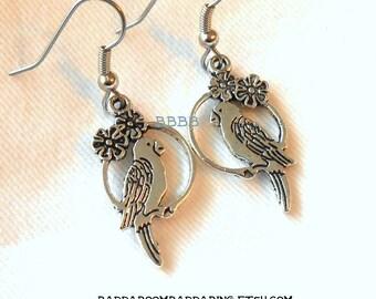 Bird Earrings Parrot Macaw Antiqued Silver Earrings Surgical Steel Hooks French Hooks