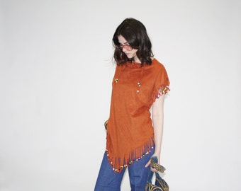 Vintage 1970s Beaded Top -  70s Hippie Tops  - The Tiger Lily Top  - WT0048