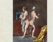 1804 Antique print, Rare old Siamese twins engraving, Original antique bizarre anatomy print