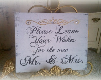 Wedding Sign, Guest Book, Please Leave Your Wishes for the new Mr. & Mrs. Gold, Silver Wedding Decoration