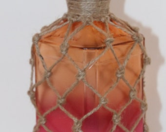 Whiskey Bottle Knotted Jute Pink and Orange Recycled