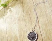 Queen Bee Necklace Sterling Silver Custom Wax Seal Pendant Organic Honey Bee Jewelry for mommy Rustic Wedding Bridesmaid Mommy or You