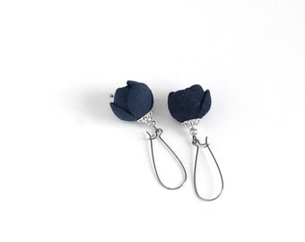 Modern style suede leather earrings in navy blue