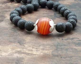 Lava Stone Necklace, Santorini Black Lava Rock & Frosted Orange Agate, Chunky Lava Necklace, Statement Black Necklace, Greek Fine Jewelry