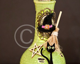 Potion Bottle, Potion, Halloween Potion, Halloween, Witch, Green, Cat, Bat, Broom, Apothecary