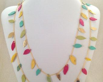 Springtime Leather leaf Necklace