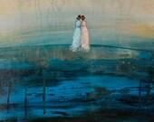 Original Figurative Painting  Each Other  16 x 20 x 1   Swalla Studio Landscape Ocean Friends