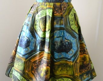 1950s Green cotton novelty picture frame print pleated skirt / Printed 50s short summer Gor Ray skirt - XS S