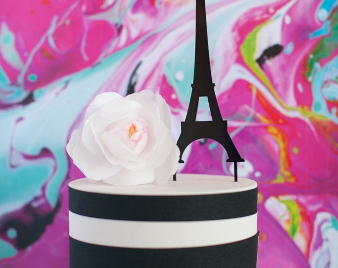 Paris, France Eiffel Tower Cake Topper, Acrylic, Laser Cut, Bridal Shower
