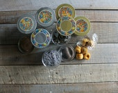 8 Vintage Jelly Jars with Lids