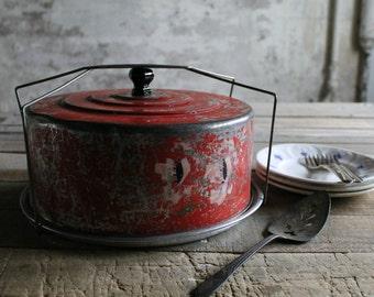 3 Pc Vintage Red Metal Cake or Pie Carrier