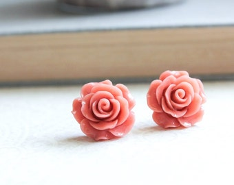 Big Rose Earrings Coral Rose Stud Earrings Surgical Steel Post Earrings Bridal Jewelry Dark Peach Coral Flower Studs Earrings Nickel Free