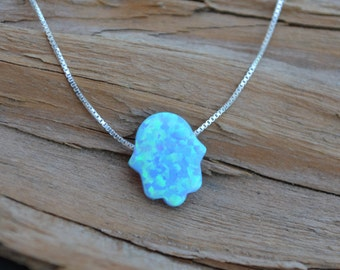OPAL Necklace Sterling Silver - Your Choice of Charm -Heart, Star ,Hamsa , Moon or Star of David