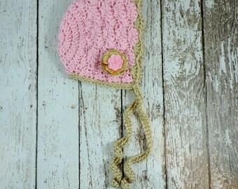 Spring hat / Bonnet / pink and gold / infant hat / baby bonnet / crochet hat / baby hat / girl hat / newborn photo prop/ sitter set