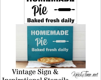 Homemade Pie Sign Stencil  Home Decor Vintage Sign Stencils