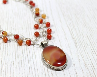 Carnelian Pendant Necklace with Sterling Silver 925 Oval Link Chain and Carnelian Balls