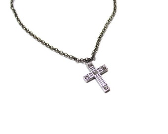 Vintage Cross Charm Necklace with Swarovski Crystals