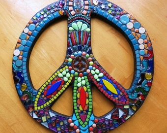 """CUSTOM PEACE Sign - 16"""" Round - Custom Order in Your Colors - Glass Gems, Stones, Howlite, Ceramic, Glitter Tiles, Colored Ball Chain - OOAK"""
