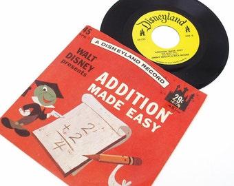 Vintage Vinyl Record Educational 45 Record Home School Walt Disney Addition Made Easy Jimmy Cricket