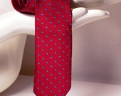 Skinny red tie with blue dots jaquard patern. Exlusive polka dot tie. Glamourous necktie red and blue wedding tie by TieStory.