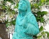 Turquoise HOODED SAINT FRANCIS Stone Garden Statue / Original Artwork (t)