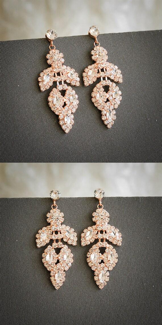Rose Gold Bridal Earrings Chandelier Wedding by