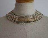 Collar Pearl Bib Necklace Beaded Champagne Silk Choker Art Deco - 1940s VINTAGE