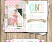 One First Birthday girl coral pink  mint gold PRINTABLE  Invitation #7  chevron polka dot glitter 1st birthday 1031