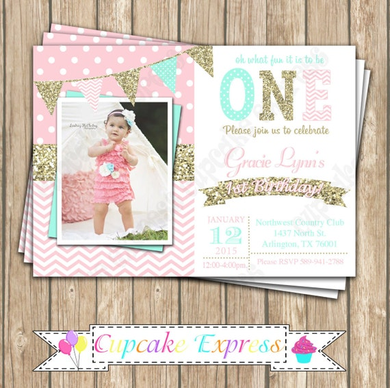 Girls First Birthday invitation pink mint gold invitation – Pink 1st Birthday Invitations