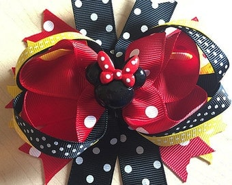 """Red Crown Black Polka Dot Minnie mouse inspired Hair Bow Grossgrain Loopy Boutique Handmade girls 4"""" 24M 2T 3 t 4 t 5 6 7 8 10 12"""