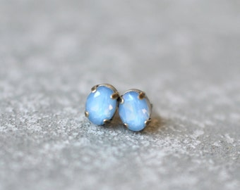 Blue Opal Earrings Swarovski Crystal 8mm Oval Petite Studs Super Sparklers Small RARE Vintage Sky Blue Earrings Mashugana