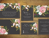 Printable Black Wedding Invitation Suite | Floral Wedding Invitation Set, Wedding Invite, Wild Flower Invitation, Spring Wedding